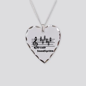 Arcade sound system clef note Necklace Heart Charm