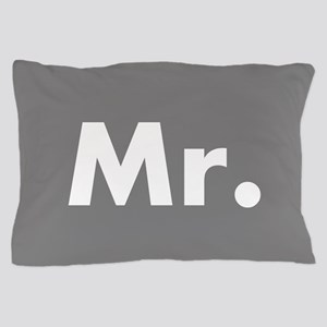 Grey Mr and Mrs set - His Pillow Case