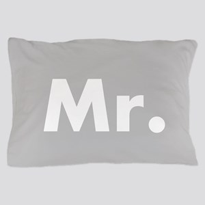 Gray Mr and Mrs set - His Pillow Case