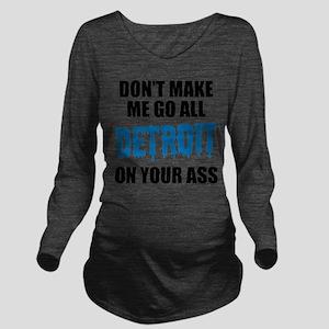 Detroit Football Long Sleeve Maternity T-Shirt