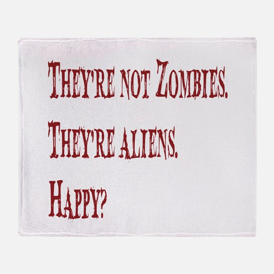 Not Zombies Red Throw Blanket