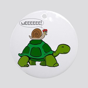 Snail on Turtle Ornament (Round)