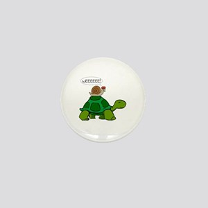 Snail on Turtle Mini Button