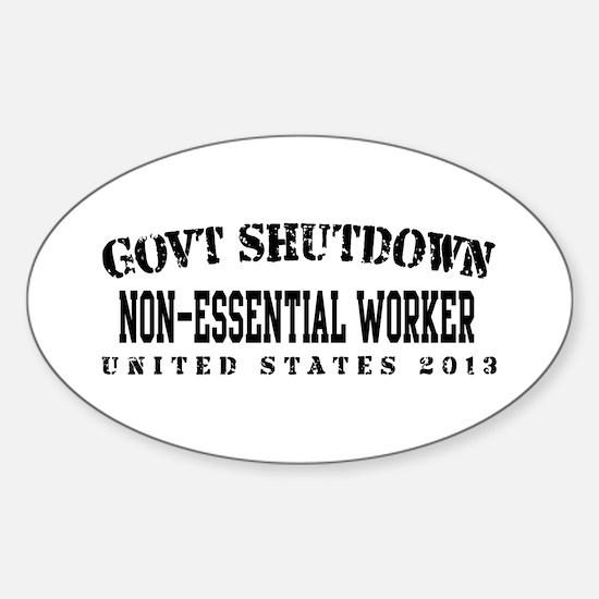 NonEsntl - GovtShut13 Sticker (Oval)