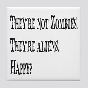 Not Zombies Black Tile Coaster