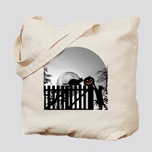 Pumpkin, Cats, Moon and Shadows Tote Bag