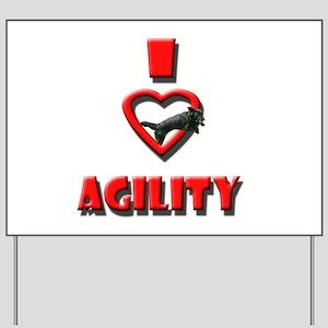 I_heart_agility_border_collie Yard Sign