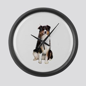 Aussie Shep (Tri3) Large Wall Clock