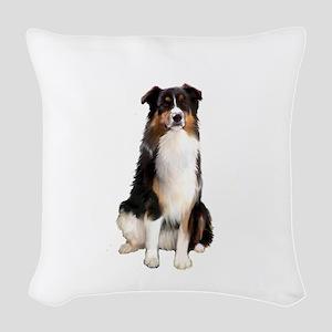 Aussie Shep (Tri3) Woven Throw Pillow