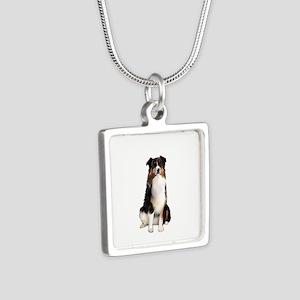 Aussie Shep (Tri3) Silver Square Necklace