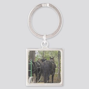 Percheron Team Square Keychain