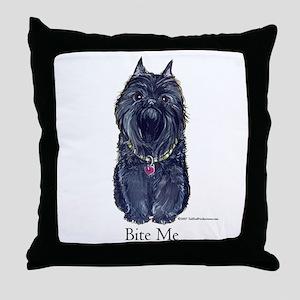 Brussels Bite Me Griffon Throw Pillow