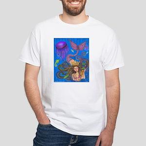 Mermaid & Mercat diva & Cat White T-Shirt