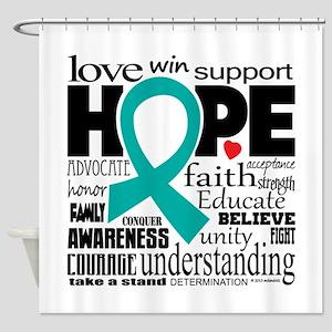 Cervical Cancer Words Shower Curtain