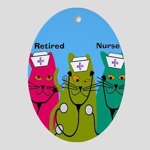retired nurse ff 7 Ornament (Oval)