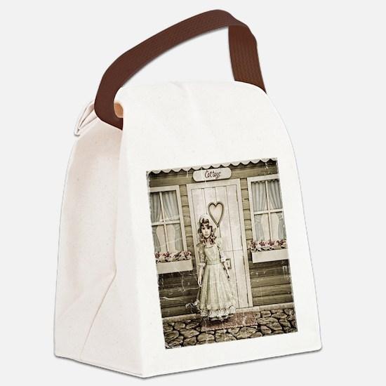 Vintage Girl Canvas Lunch Bag