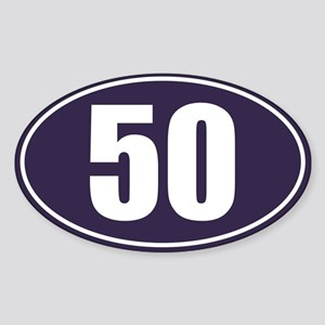 50 Blue Oval Sticker (Oval)