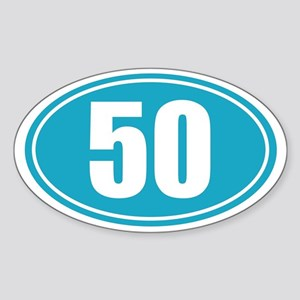 50 light blue oval decal Sticker (Oval)