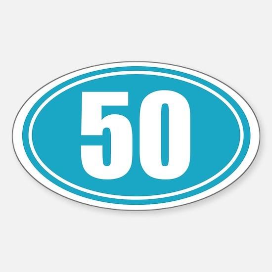 50 light blue oval decal Sticker (Oval)