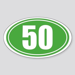 50 Green oval decal Sticker (Oval)