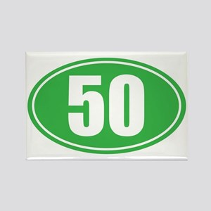 50 green oval Rectangle Magnet