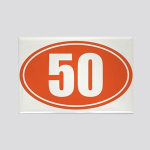 50 orange oval Rectangle Magnet
