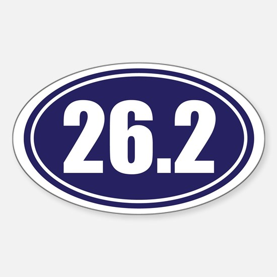 26.2 blue oval Sticker (Oval)