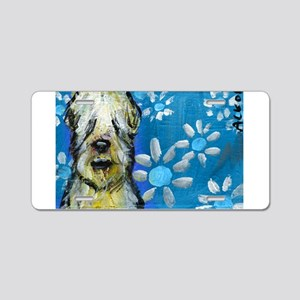 Wheaten Terrier flowers Aluminum License Plate