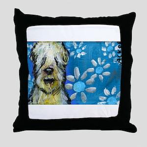 Wheaten Terrier flowers Throw Pillow