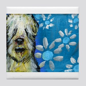 Wheaten Terrier flowers Tile Coaster