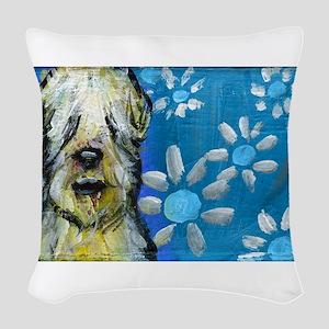 Wheaten Terrier flowers Woven Throw Pillow