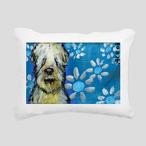Wheaten Terrier flowers Rectangular Canvas Pillow