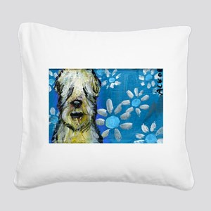 Wheaten Terrier flowers Square Canvas Pillow