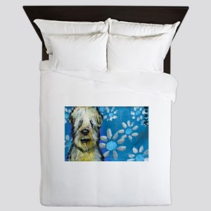 Wheaten Terrier flowers Queen Duvet