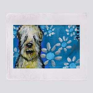 Wheaten Terrier flowers Throw Blanket