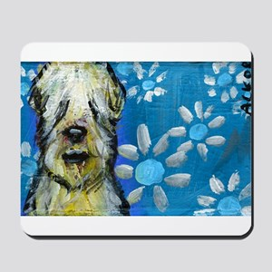 Wheaten Terrier flowers Mousepad