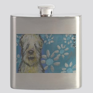 Wheaten Terrier flowers Flask
