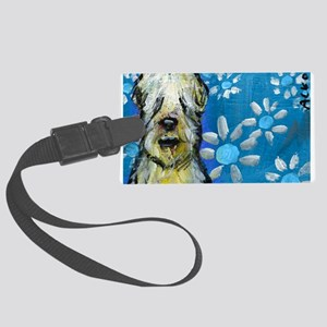 Wheaten Terrier flowers Luggage Tag