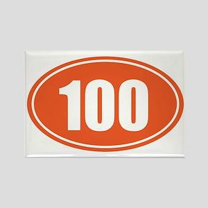 100 orange oval Rectangle Magnet
