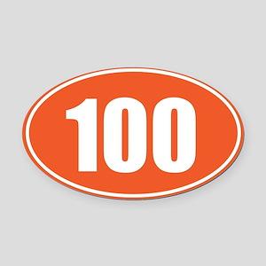 100 orange oval Oval Car Magnet