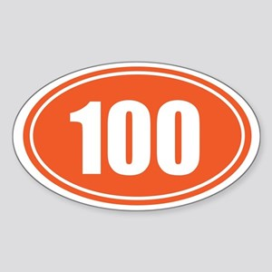 100 orange oval Sticker (Oval)