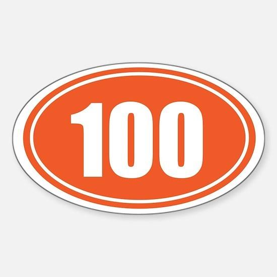 100 orange oval Sticker (Oval)
