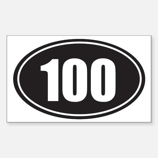 100 black oval Sticker (Rectangle)