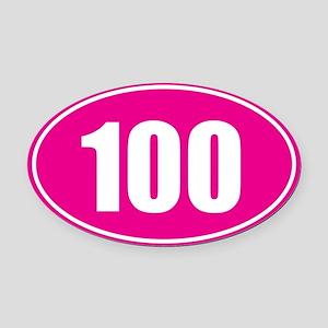 100 pink oval Oval Car Magnet