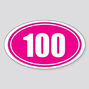 100 pink oval Sticker (Oval)