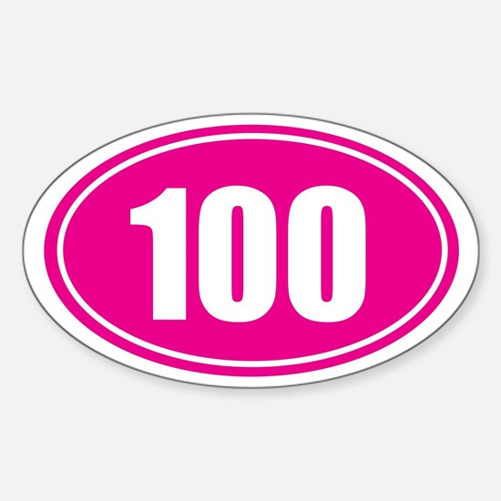 100 pink oval Sticker (Oval)