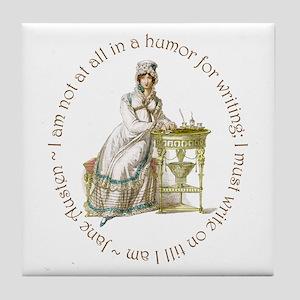 Jane Austen Writing Tile Coaster