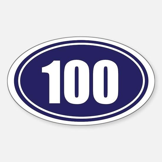 100 blue oval Sticker (Oval)