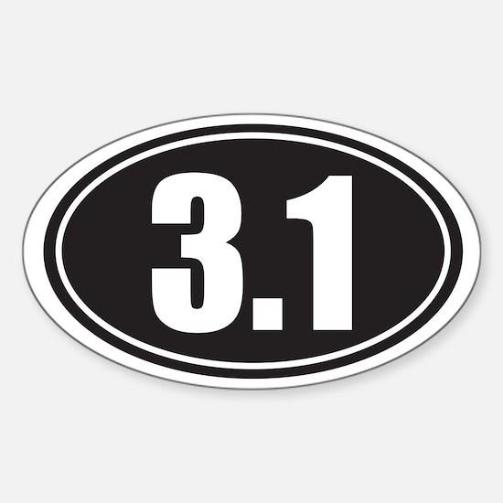 3.1 black oval Sticker (Oval)