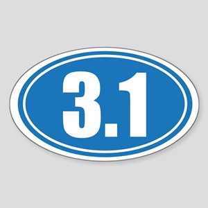 3.1 blue oval Sticker (Oval)
